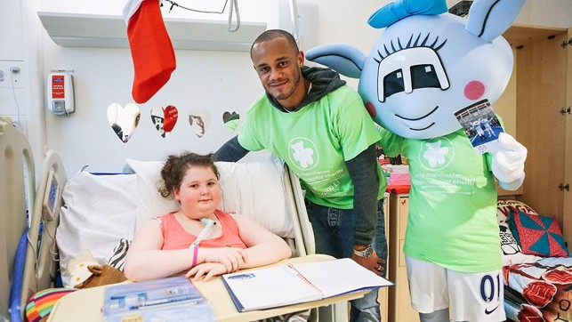 HOSPITAL VISIT: Taking the time to visit some special City fans.