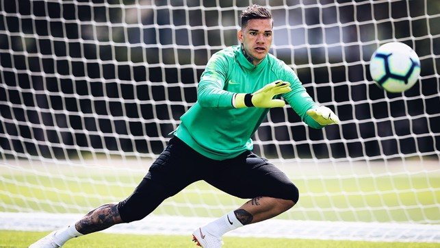 GOT IT COVERED: Ederson pulls out all the stops
