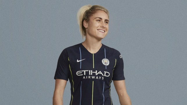 ALL SMILES: Steph Houghton proudly wears our new 2018/19 away shirt
