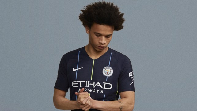 WING COMMAND: Leroy Sane cuts a dash in City's new 2018/19 away shirt