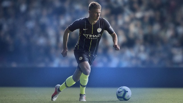 ACTION MAN: Kevin De Bruyne models the new 2018/19 City away kit