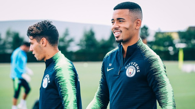 GAB IN GREEN: Gabriel Jesus (right) and Brahim Diaz