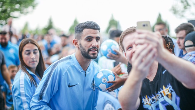 FAN TIME: Mahrez made the most of meeting his new fans.