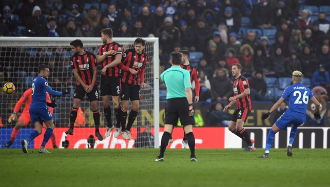 FINE FINISH: Expertly bending a free-kick into the bottom corner against Bournemouth