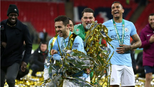 SOLID SILVA: Bernardo joins in the celebrations after our Carabao Cup final win over Arsenal in February 2018 - his first trophy with the Blues