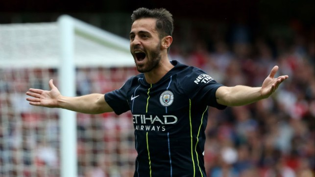 BACK IN BUSINESS: Silva can't contain his joy after netting at Arsenal in our opening 2018/19 Premier League clash