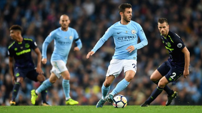 FIRST FOOTING: The midfielder in the thick of the action against Everton during his home debut for City in August 2017
