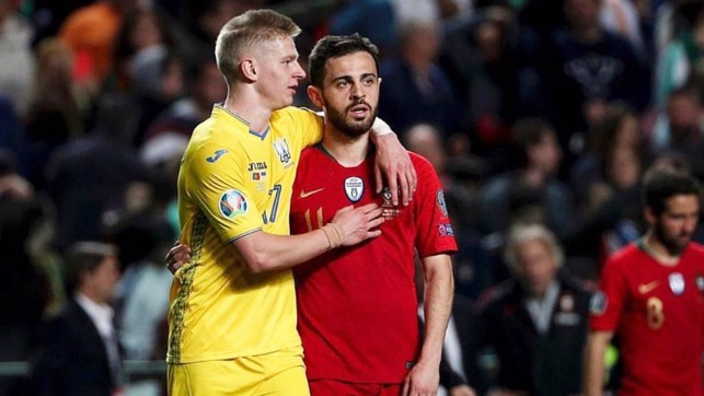 FRIENDLY RIVALS: Oleks Zinchenko and Bernardo Silva both featured as Ukraine and Portugal played out a goalless draw