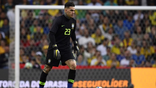 CLASS KEEPER: Ederson in goal for Brazil v Panama