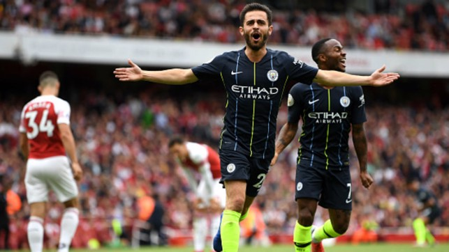 AWAY DAY DELIGHT: Bernardo Silva celebrates his goal in the 2-0 opening day win over Arsenal