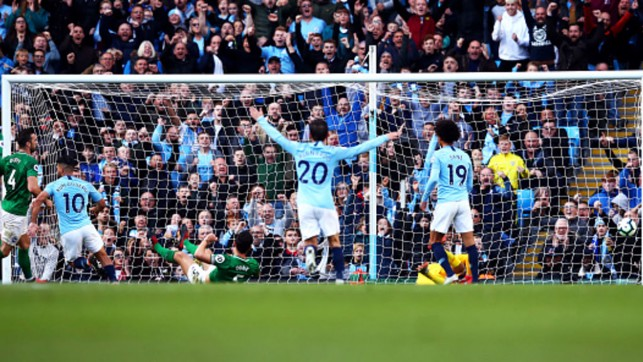 TABLE TOPPERS: City reach the Premier League summit with a 2-0 home win over Brighton