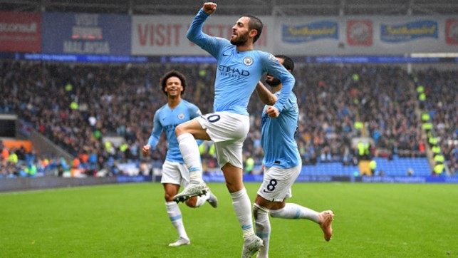 QUICKFIRE DOUBLE: Bernardo Silva scores City's second in three minutes against Cardiff City
