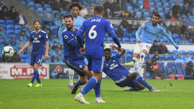 FIRST GOALS: Riyad Mahrez opens his City account with a brace in the 5-0 win away to Cardiff City