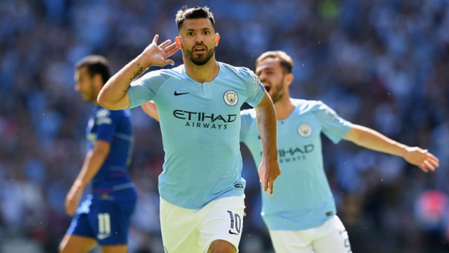 DOUBLE CENTURY: Sergio Aguero celebrates his 200th City goal in the Community Shield win over Chelsea
