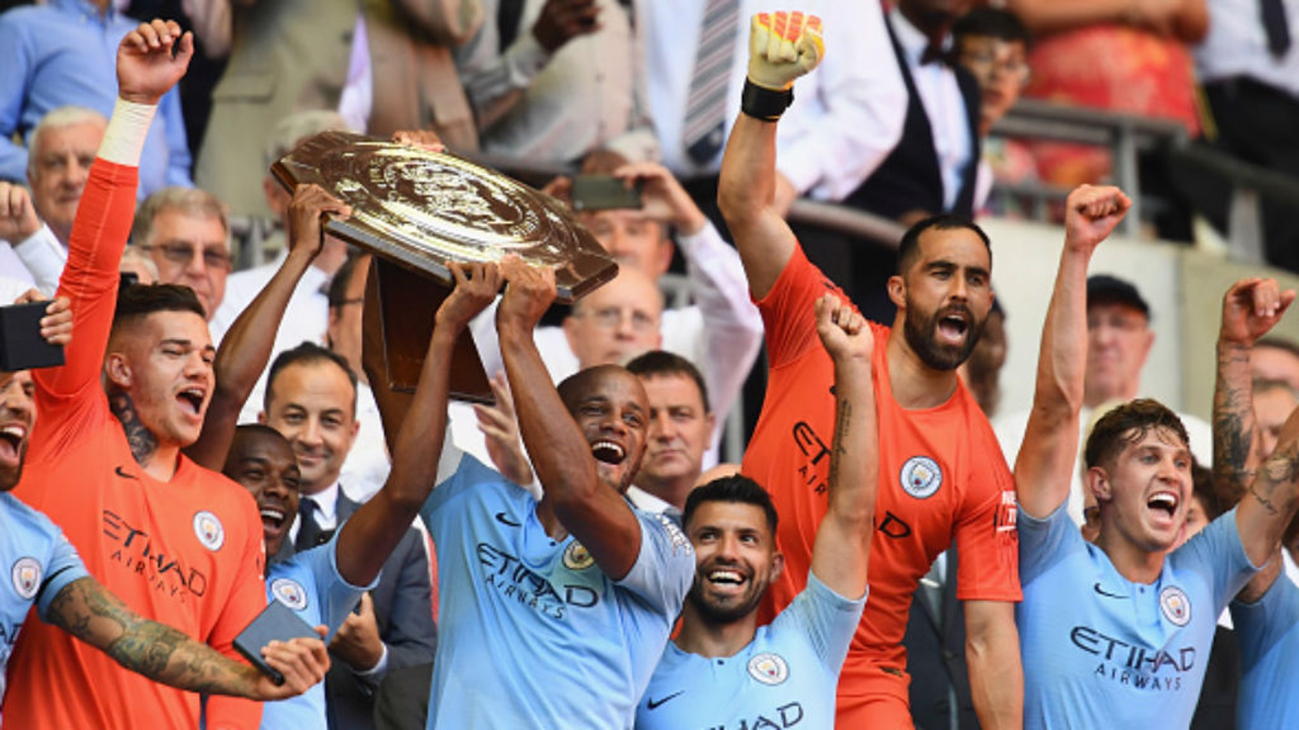 FIRST SILVERWARE: City lift their first trophy of the new season with a 2-0 Community Shield win over Chelsea