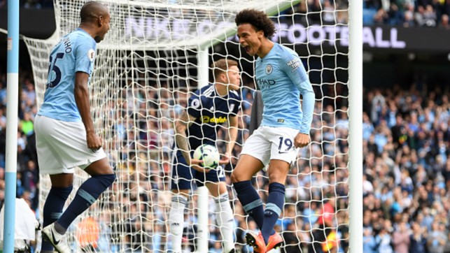 EXPLOSIVE START: Leroy Sane's early opener sets City on course for a 3-0 home win over Fulham