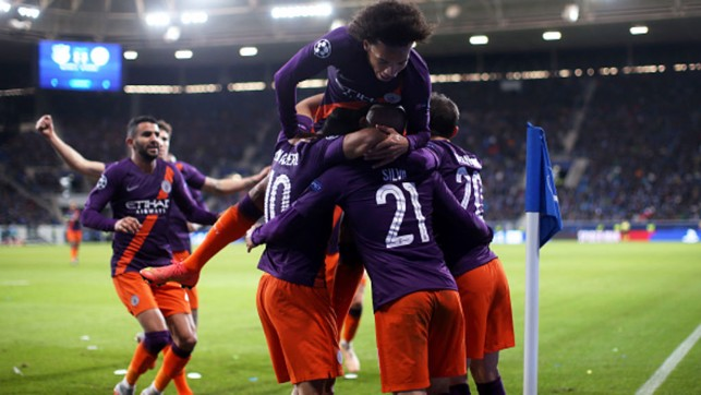 TEAM EFFORT: City celebrate David Silva's late Champions League winner against Hoffenheim