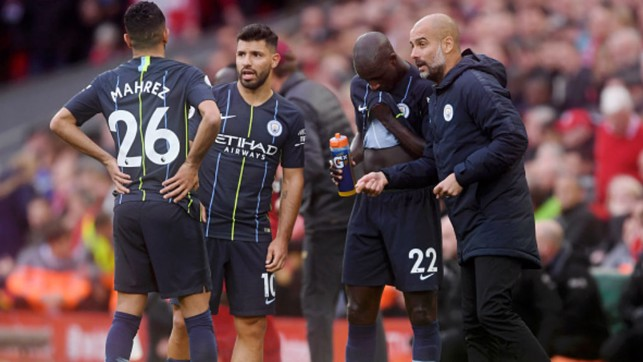 PLAYER INSTRUCTIONS: Pep coaches the players midway through the 0-0 draw against Liverpool