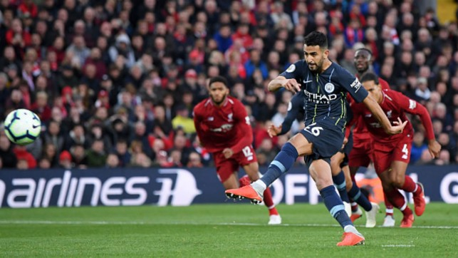 GOLDEN OPPORTUNITY: Riyad Mahrez hits a late penalty over the bar at Anfield