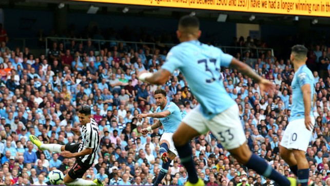 WALKER WONDERGOAL: Kyle Walker powers in a 25-yard strike to give City a 2-1 win over Newcastle