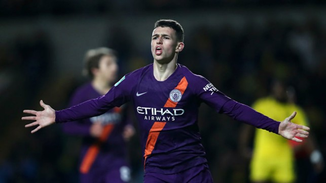 FANTASTIC MR. FODEN: Phil Foden caps off his star man performance with a first senior goal in the 3-0 Carabao Cup win over Oxford United