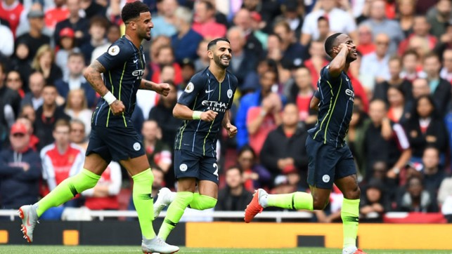 STERLING START: Opening day delight, as goals from Raheem Sterling and Bernardo Silva secure a 2-0 win at Arsenal
