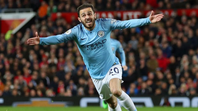 GOALDEN BOY: Bernardo Silva was on the scoresheet once again to draw first blood in the 178th Manchester Derby