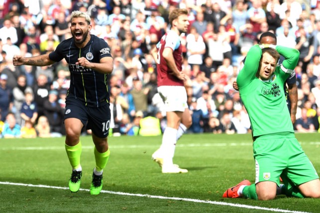 NARROW MARGINS: Sergio Aguero's 20th goal of the season crossed the line by an extraordinary 29.5mm to defeat Burnley!