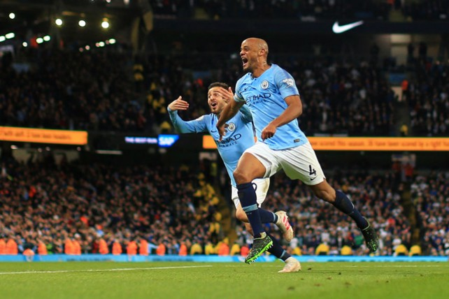 COMETH THE CAPTAIN: Skipper Vincent Kompany stepped up to unleash a 30-yard thunderbolt against Leicester to move City within touching distance of Premier League trophy