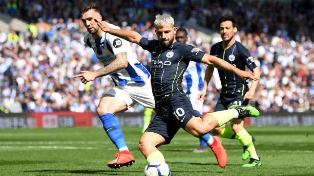 AGUEROOOOO: Our Argentine ace was at the heart of more final day drama, netting a crucial equaliser 83 seconds after Brighton's opener