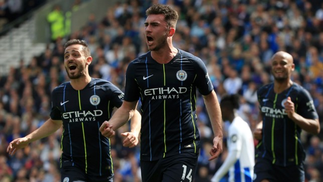 MESMERIC LAPORTE: Aymeric Laporte rose highest to head home another pivotal goal to hand City the lead