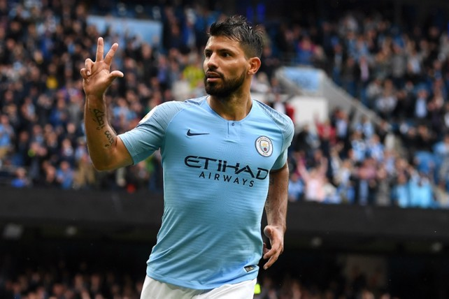 SIX AND THE CITY: Sergio Aguero was the star of the show, bagging a hat-trick in our first home game of 2018/19 - a 6-1 win over Huddersfield