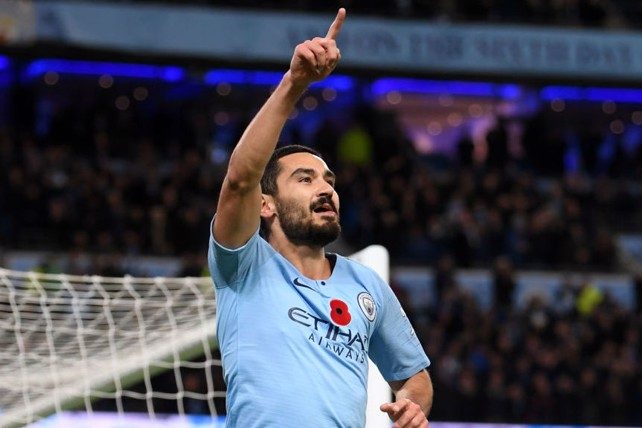 DEMOLITION DERBY: Ilkay Gundogan sealed a superb 3-1 home win over neighbours United at the Etihad Stadium