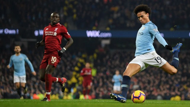 TRIGGER HAPPY: Leroy Sane fired home the winner in a crucial 2-1 win over Liverpool, cutting the gap at the top of the table