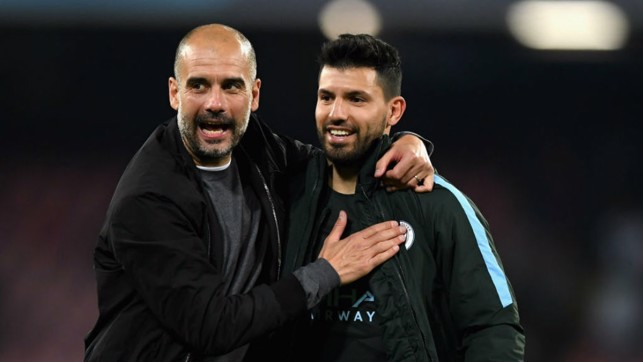 HISTORY MAN: Manager Pep Guardiola greets Sergio after his historic goal at Napoli