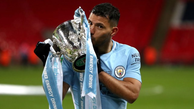 MOMENT TO SAVOUR: Sergio embraces the Carabao Cup after our victory over Arsenal in the 2018 final