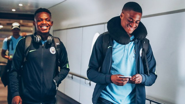 YOUNG BLUES: Rabbi Matondo and Nathanael Ogbeta express their excitement