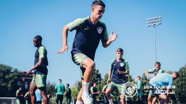 HIGH KNEES: Phil Foden in full work mode