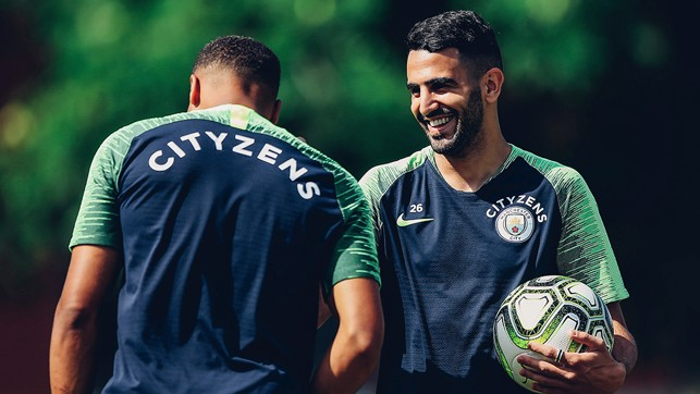 NEW BLUE: Riyad Mahrez, enjoying his first days at the Club