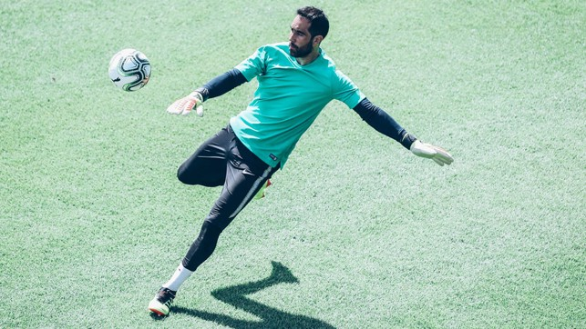 BIG KICK: Claudio Bravo in full flow