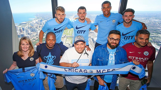 STATESIDE BLUES: The players meet the Chicago supporters branch