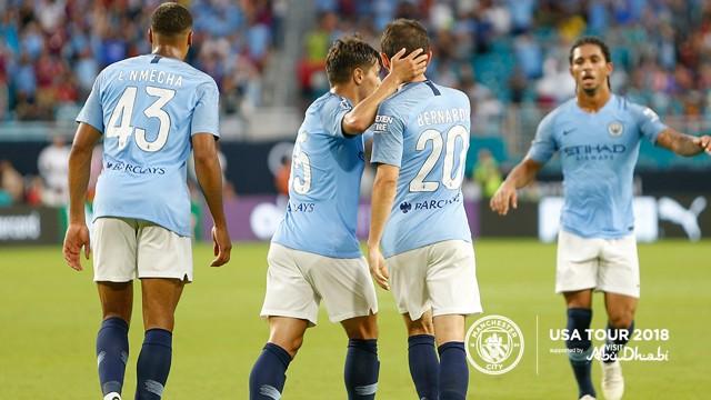 BERNARDO BABY: Silva scores City's first goal