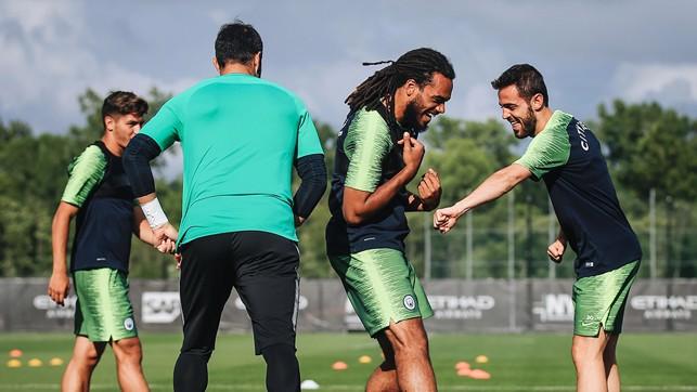 A LOT OF LAUGHS: Bernardo Silva shows off his suntan!