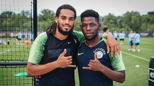 NICE SHOT: Jason Denayer and Tom Dele-Bashiru pose for a snap