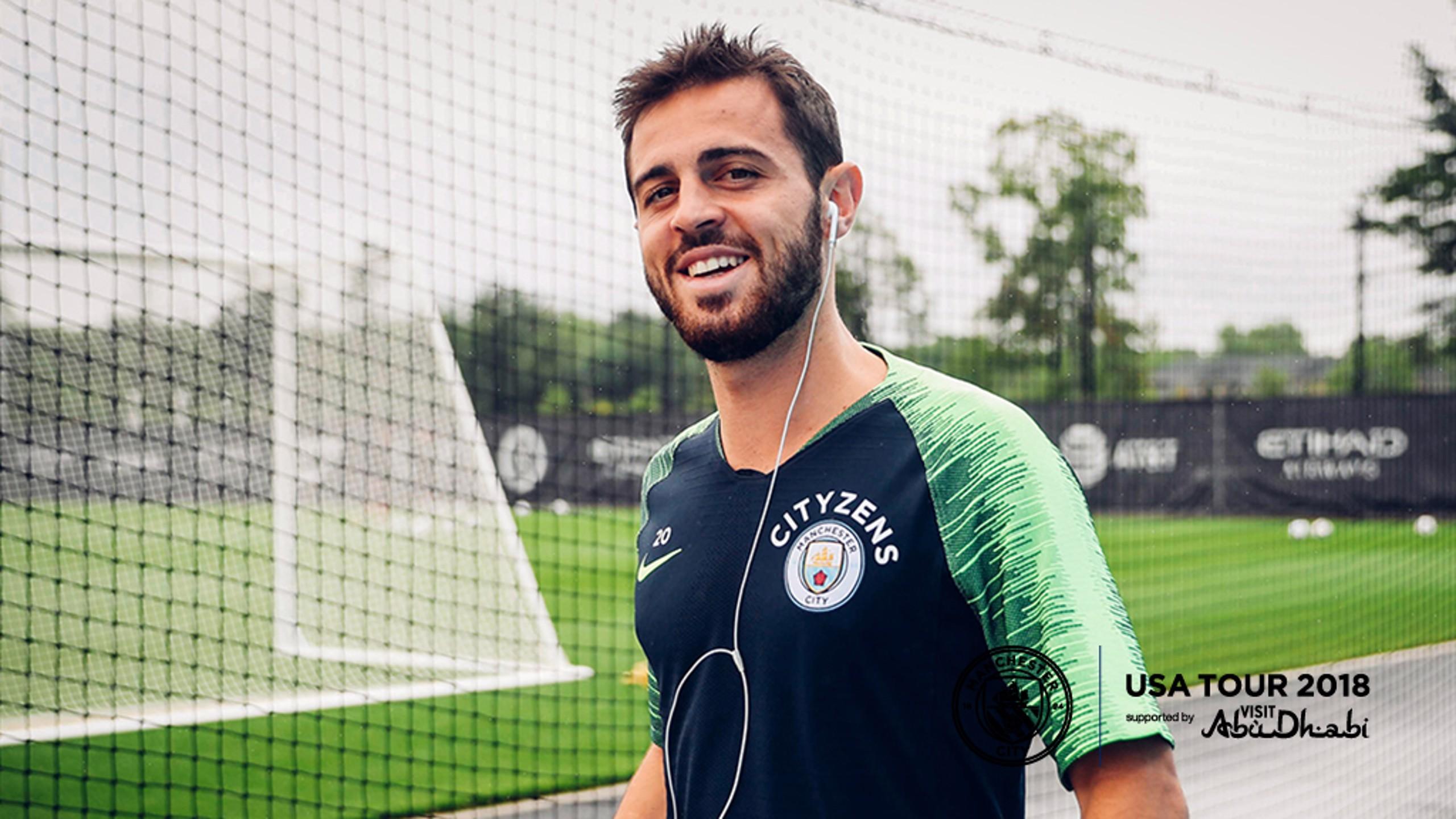 HE'S BACK: Bernardo Silva in training in New York