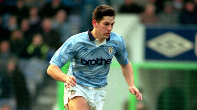 FULL FLIGHT: A lobbed effort from David White gave City a 2-1 win at Maine Road in 1991.