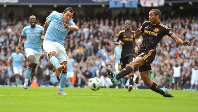 SOLO EFFORT: Chelsea came to East Manchester with an unbeaten record in September 2010, but a super individual goal from Carlos Tevez saw the sky blues snatch the win.