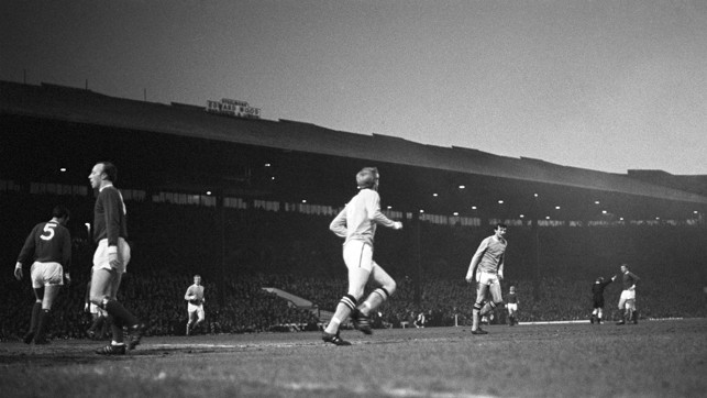 SIGNIFICANT: Colin Bell wheels away after scoring in a 3-1 victory in 1968, as City pipped their rivals to the league championship by two points.