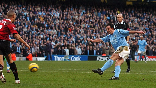 STRIKE: Robbie Fowler fires home to seal a 3-1 home win in 2006.