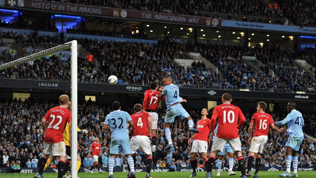 UNFORGETTABLE: Vincent Kompany powers home a goal that will live long in the memory in April 2012.